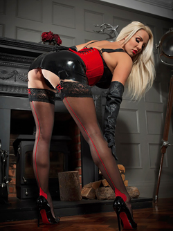Mistress Danni Harwood in Red Corset and Black Latex Lingerie