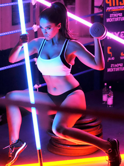 Delicious Babe Vicky Pattison Playing with Neon Light in the Ring