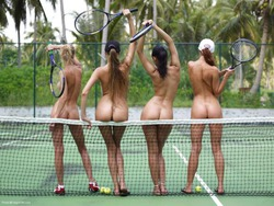 Four Tight Babes - Nude Tennis - pics 00