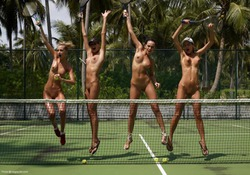Four Tight Babes - Nude Tennis - pics 05