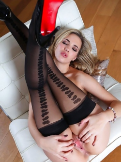 Charming Blonde Vixen Sophia Knight in Sexy Black Stockings