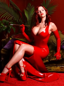 Dirty Bombshell Bianca Beauchamp in Red Latex and High Heels
