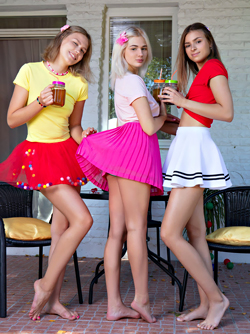 Lisa, Jill and Kenia Wet T-shirts - Lesbians Lift up Their Skirts
